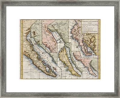 1772 Vaugondy  Diderot Map Of California In Five States California As Island Framed Print by Paul Fearn