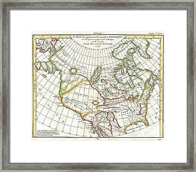1772 Vaugondy  Diderot Map Of North America And The Northwest Passage Framed Print by Paul Fearn