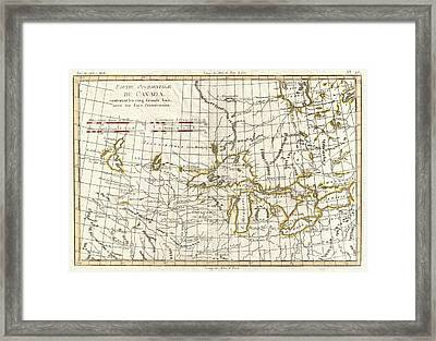 1775 Bonne Map Of The Great Lakes And Upper Mississippi  Framed Print