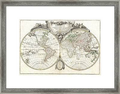 1775 Lattre And Janvier Map Of The World On A Hemisphere Projection  Framed Print