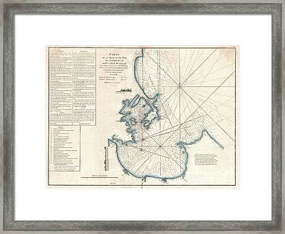 1775 Mannevillette Map Of Trincomalee Ceylon Or Sri Lanka Framed Print by Paul Fearn