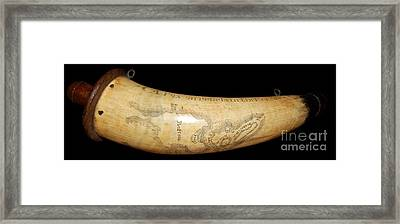 1775 Scrimshaw Map Of Boston Carved On Revolutionary War Powder Horn Framed Print by Paul Fearn
