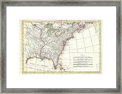 1776 Bonne Map Of Louisiana And The British Colonies In North America Framed Print by Paul Fearn