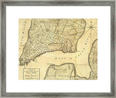 1776 New York City Map Framed Print by Dan Sproul
