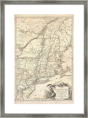 1777 Brion De La Tour Map Of New York And New England Revolutionary War Framed Print by Paul Fearn
