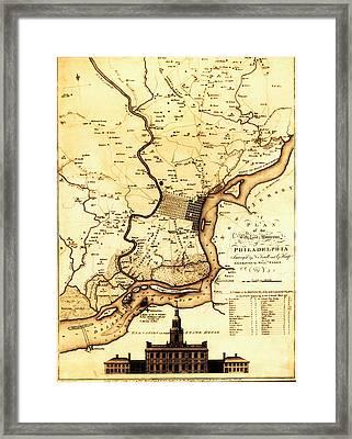1777 Philadelphia Map Framed Print by Bill Cannon
