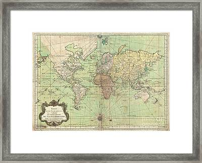 1778 Bellin Nautical Chart Or Map Of The World Framed Print by Paul Fearn