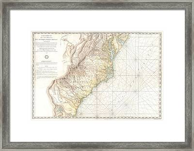 1778 Sartine Map Of Georgia North Carolina South Carolina Virginia And Maryland Framed Print by Paul Fearn