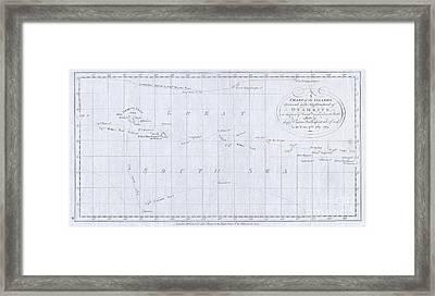 1780 Cook  Hogg Map Of Tahiti  Framed Print