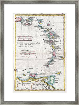 1780 Raynal And Bonne Map Of Antilles Islands Framed Print