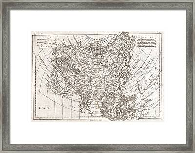 1780 Raynal And Bonne Map Of Asia Framed Print by Paul Fearn