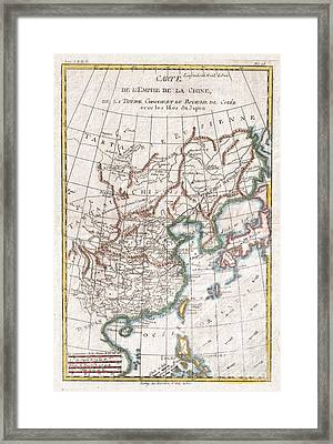 1780 Raynal And Bonne Map Of China Korea And Japan Framed Print by Paul Fearn