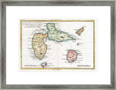 1780 Raynal And Bonne Map Of Guadeloupe West Indies Framed Print