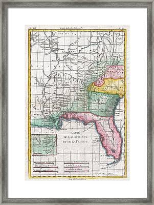 1780 Raynal And Bonne Map Of Louisiana Florida And Carolina Framed Print by Paul Fearn