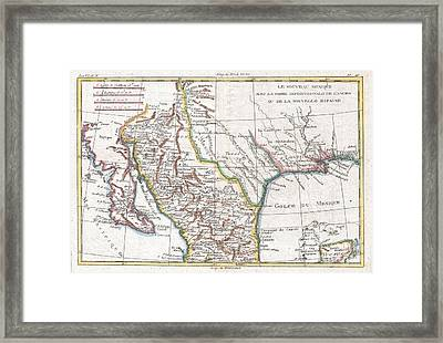 1780 Raynal And Bonne Map Of Mexico And Texas  Framed Print by Paul Fearn