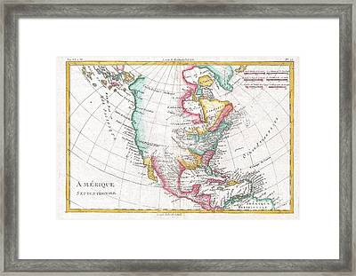 1780 Raynal And Bonne Map Of North America Framed Print