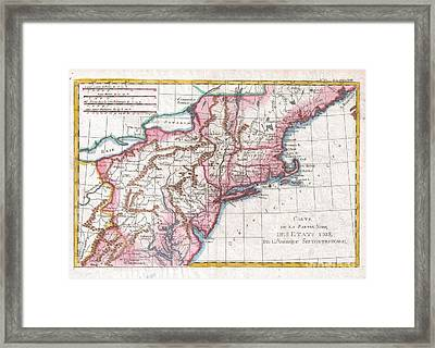 1780 Raynal And Bonne Map Of Northern United States Framed Print by Paul Fearn