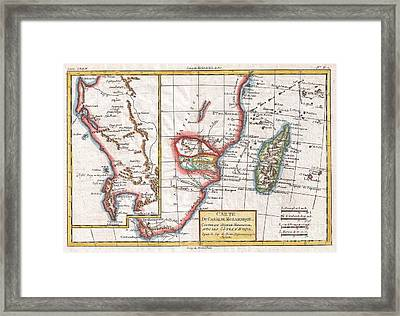 1780 Raynal And Bonne Map Of South Africa Zimbabwe Madagascar And Mozambique Framed Print by Paul Fearn