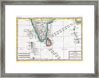 1780 Raynal And Bonne Map Of Southern India Framed Print by Paul Fearn