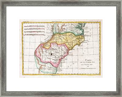 1780 Raynal And Bonne Map Of Southern United States Framed Print by Paul Fearn