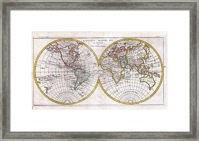 1780 Raynal And Bonne Map Of The Two Hemispheres Framed Print by Paul Fearn