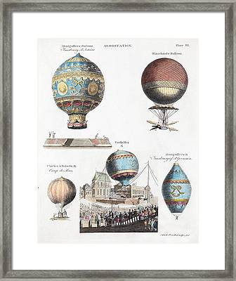 1783 World's First Flying Balloons Design Framed Print