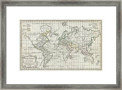 1784 Vaugondy Map Of The World On Mercator Projection Framed Print