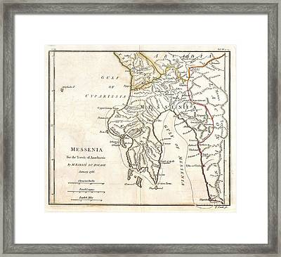1786 Bocage Map Of Messenia In Ancient Greece Framed Print by Paul Fearn