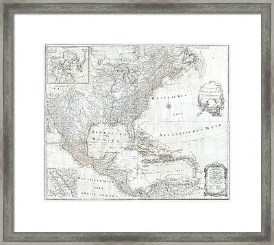 1788 Schraembl  Pownall Map Of North America And The West Indies Framed Print by Paul Fearn