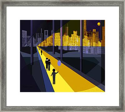 179 - Nightwalking  To The Golden City   Framed Print by Irmgard Schoendorf Welch