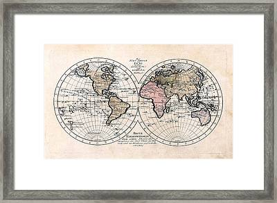 1791 Antique World Map Die Funf Theile Der Erde Framed Print by Karon Melillo DeVega