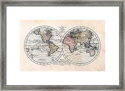 1791 Antique World Map Die Funf Theile Der Erde Framed Print