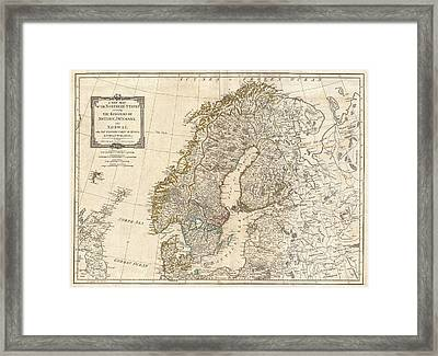 1794 Antique Map Norway Sweden Framed Print by Dan Sproul