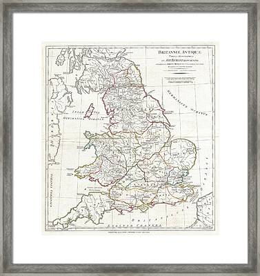 1794 Anville Map Of England In Ancient Roman Times Framed Print by Paul Fearn