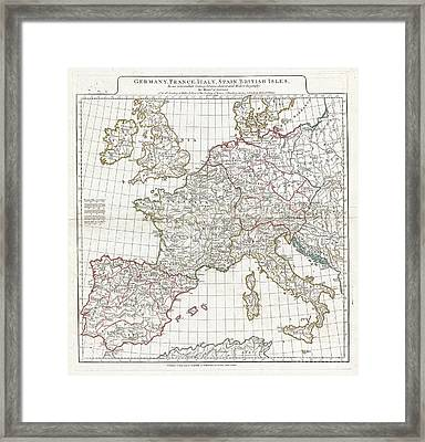 1794 Anville Map Of Europe In Late Roman Times Framed Print by Paul Fearn