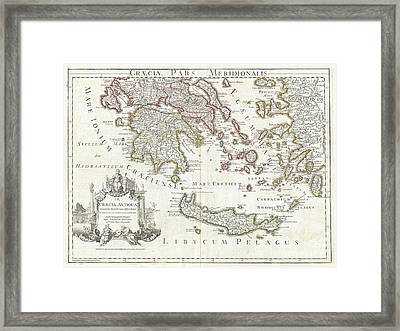 1794 Delisle Map Of Southern Ancient Greece Greeks Isles And Crete Framed Print