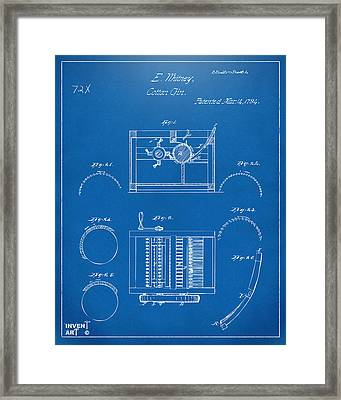 1794 Eli Whitney Cotton Gin Patent Blueprint Framed Print by Nikki Marie Smith