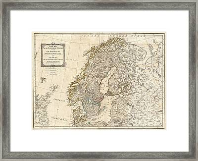 1794 Laurie And Whittle Map Of Norway Sweden Denmark And Finland Framed Print