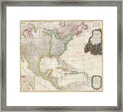 1794 Pownell Wall Map Of North America And The West Indies Framed Print by Paul Fearn