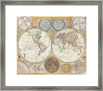 1794 Samuel Dunn Wall Map Of The World In Hemispheres Framed Print