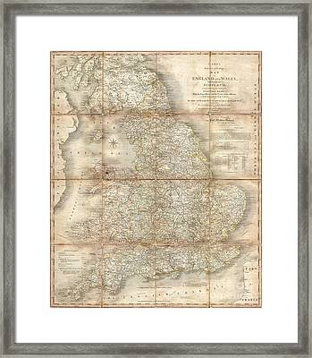 1796 Cary Folding Case Map Of England And Wales Framed Print by Paul Fearn