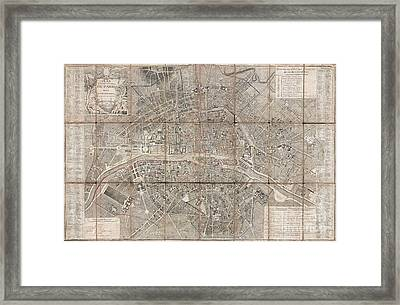 1797 Jean Map Of Paris And The Faubourgs Framed Print by Paul Fearn