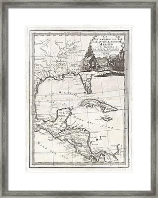 1798 Cassini Map Of Florida Louisiana Cuba And Central America Framed Print