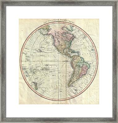 1799 Cary Map Of The Western Hemisphere  Framed Print by Paul Fearn