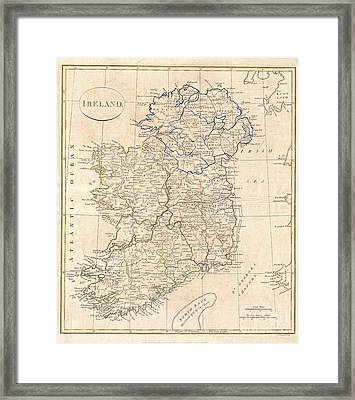 1799 Clement Cruttwell Map Of Ireland Framed Print by Paul Fearn