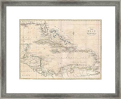1799 Clement Cruttwell Map Of West Indies Framed Print by Paul Fearn