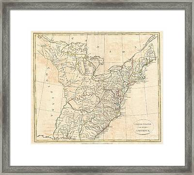 1799 Cruttwell Map Of The United States Of America Framed Print by Paul Fearn