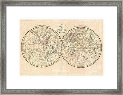 1799 Cruttwell Map Of The World In Hemispheres Framed Print