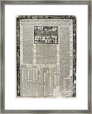 17th Century Account Of Plagues In London Framed Print by British Library