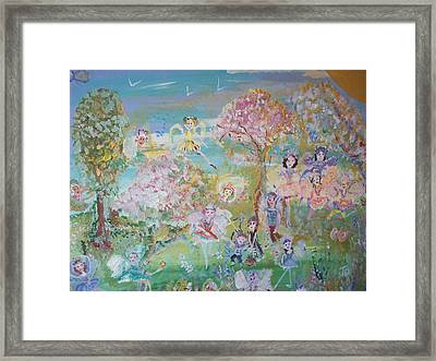 Framed Print featuring the painting 18 Fairy Party In Fairyland by Judith Desrosiers